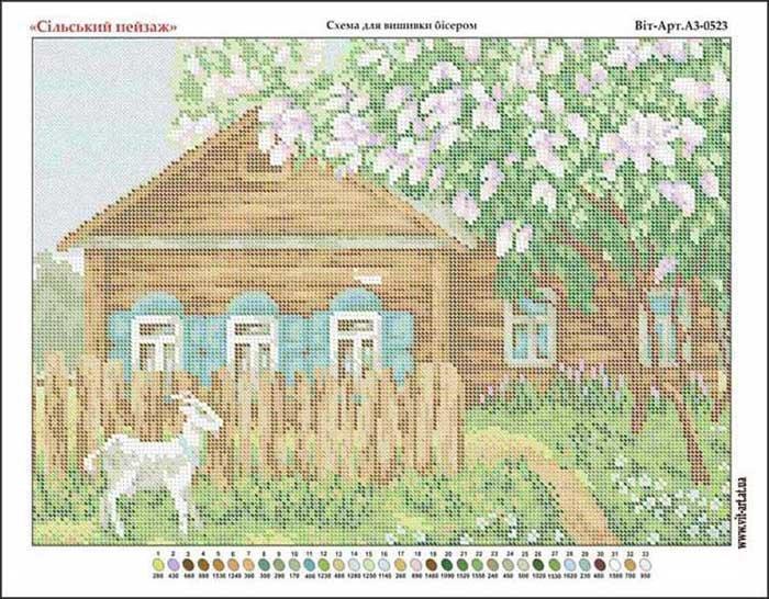 Схемы вышивки деревенских пейзажей 31